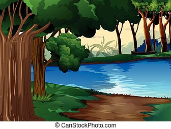River - Illustration of forest stream and trees