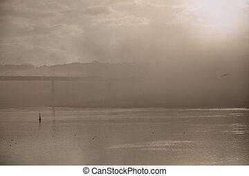 River in a foggy dawn