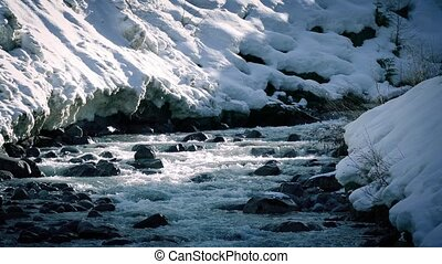 River In Cold Climate With Snow