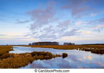 river in Drenthe before sunset - cloudscape reflection in...