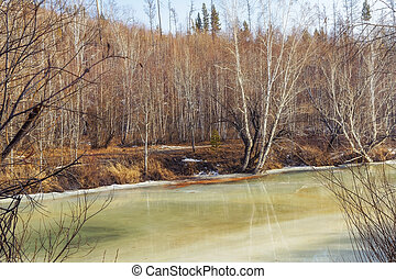 River in early spring. The ice begins to melt