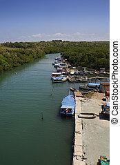 "River in Havana - Rustic fishing boats on \\\""Jaruco\\\""..."