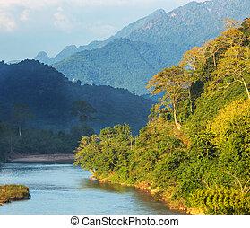 River in Laos - Song river at Vang Vieng, Laos