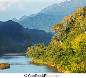 River in Laos - Song river at Vang Vieng, Laos