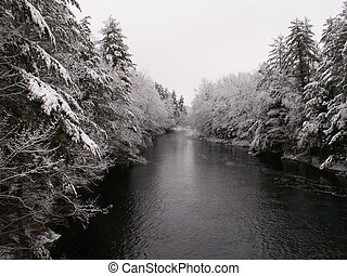 River in Maine in wi - The flowage in winter