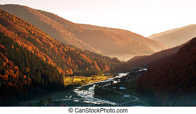 River in mountain valley covered with autumnal colorful forest at sunrise