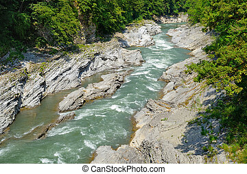 River in mountains. Belaya River in Republic of Adygea, Russia