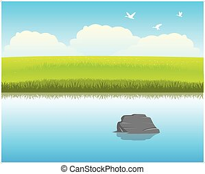 The Calm river with clean water. Vector illustration