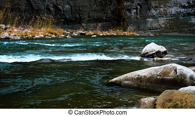 River in the Carpathians flows among the rocks