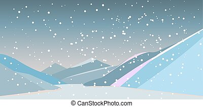 river in the mountains with falling snow