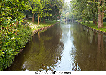 River in the park, Bruges - A river in the park in Bruges,...