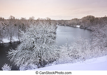 River in the winter landscape