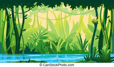River in topical forest nature background - River flows ...