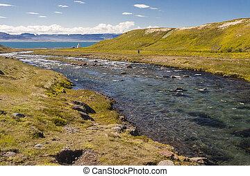 River in Unadsdalur village - Iceland, Westfjords.