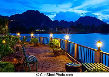 View of Vang Vieng, Laos