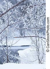 River in winter. Beach in the snow.
