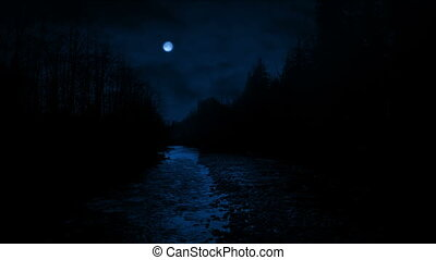 River In Woods With Full Moon Above - River through forest...