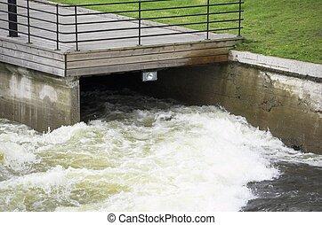 River Intake - A foeamin sream of Water at Akerselva river...