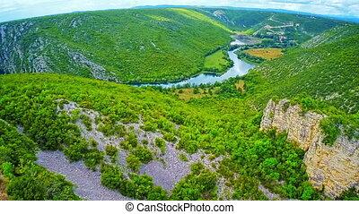 River Krka canyon aerial