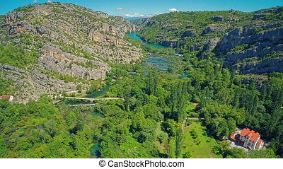 River Krka canyon - Copter aerial view of the river Krka...