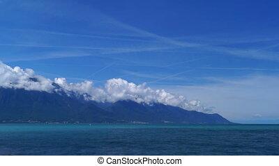 River lake landscape clouds