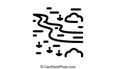 river landscape among meadow Icon Animation. black river landscape among meadow animated icon on white background
