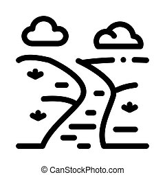 river landscape among meadow icon vector outline illustration