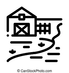 river landscape in countryside icon vector outline illustration
