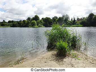 river landscape on a sunny summer day