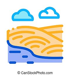 river landscape with hills icon vector outline illustration