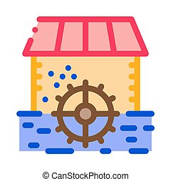 river landscape with islets icon vector outline illustration