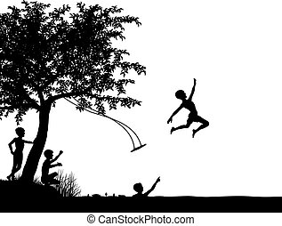 River leap - Editable vector silhouette of young boys...