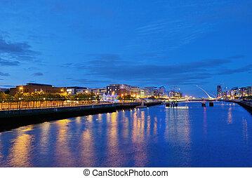 River Liffey at Dublin City Center at night - Ireland