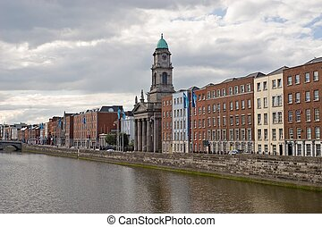A view of the River Liffey passing through downtown Dublin, Ireland
