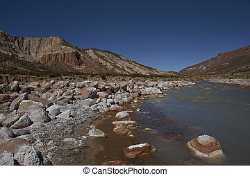 River Lluta on the Altiplano - River Lluta running through a...