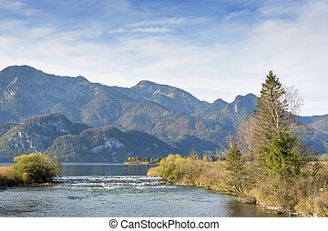 Image of river Loisach with alps in Bavaria, Germany on a sunny day in autumn
