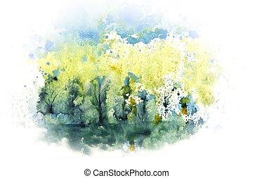 river., mano, paesaggio, foresta, acquarello, disegnato, illustrazione, blu, image., cielo, siberia., natura