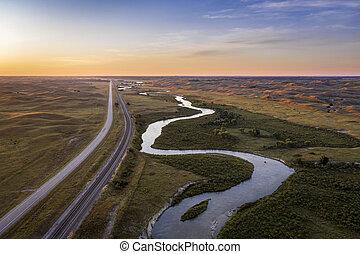 river meandering in Nebraska Sandhills
