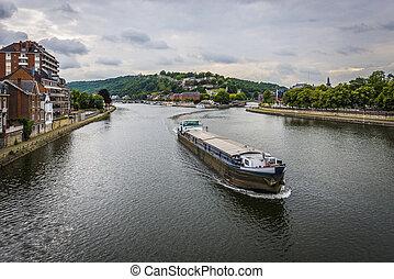 River Meuse through Namur, Belgium - River Meuse as it ...