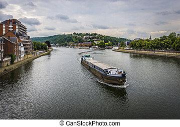 River Meuse through Namur, Belgium - River Meuse as it...