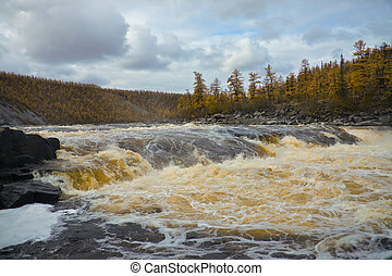 River  Moiero and Siberian taiga in the autumn