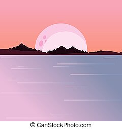 river moon night mountains natural landscape