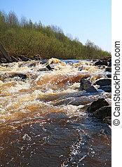 river mountain flow amongst stone