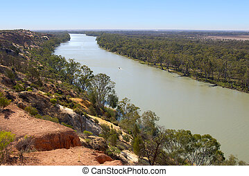 river murray - looking down on to the river murray at...