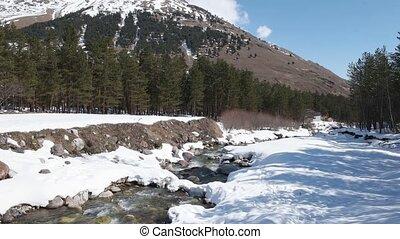 River near Elbrus mountain 4k video with sound clip