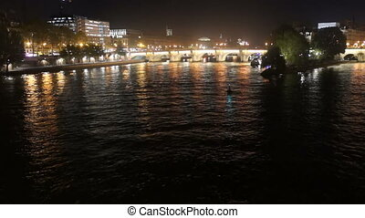 River night boat city - Time lapse view of the summer night....