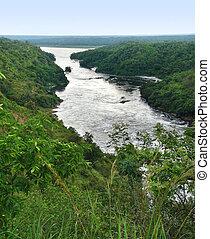 River Nile scenery around Murchison Falls - high angle River...