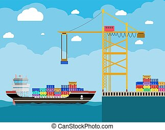 cargo ship and container crane