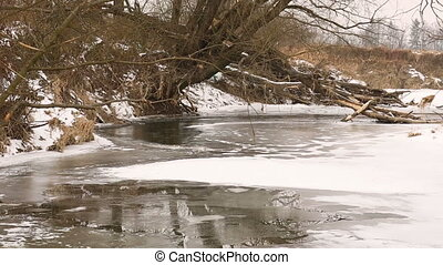 River Odra Oder flowing as inland delta by floodplain forests and wetland meadows in winter covered with a small layer of snow and ice river, the Poodri