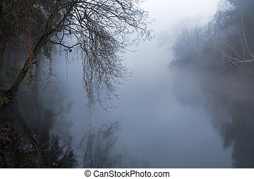 River of fear - River of the north of Portugal at cold dawn...